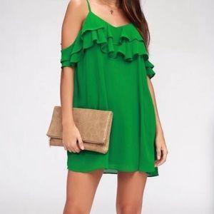 Lulu's Kelly Green Cold Shoulder Flirty Dress